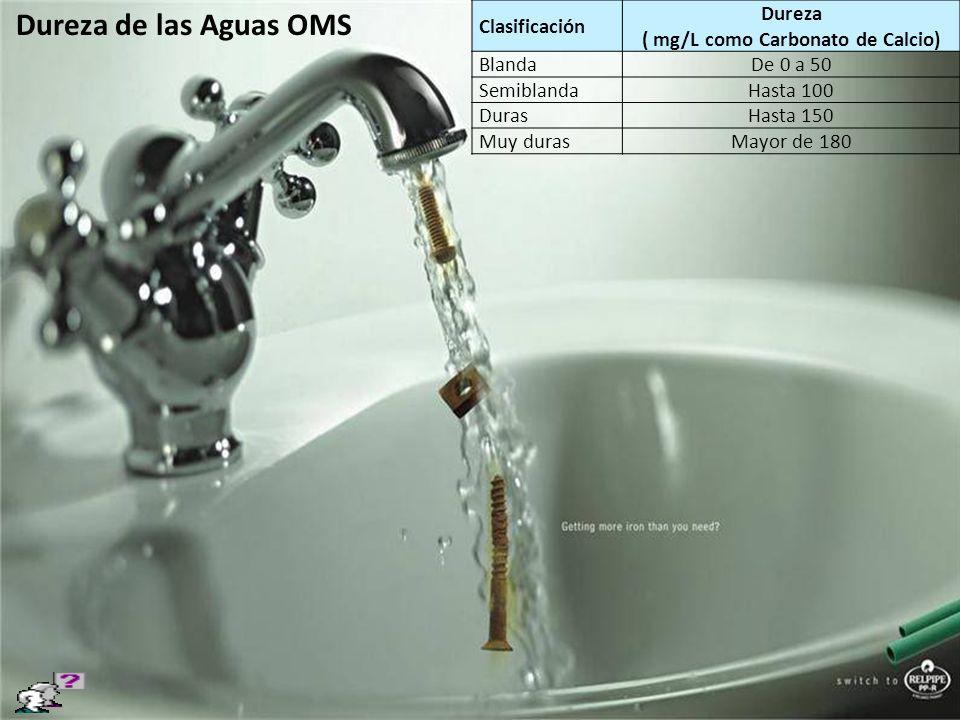 Clasificación Dureza ( mg/L como Carbonato de Calcio) BlandaDe 0 a 50 SemiblandaHasta 100 DurasHasta 150 Muy durasMayor de 180 Dureza de las Aguas OMS