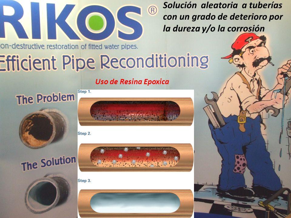 Solución aleatoria a tuberías con un grado de deterioro por la dureza y/o la corrosión Uso de Resina Epoxica