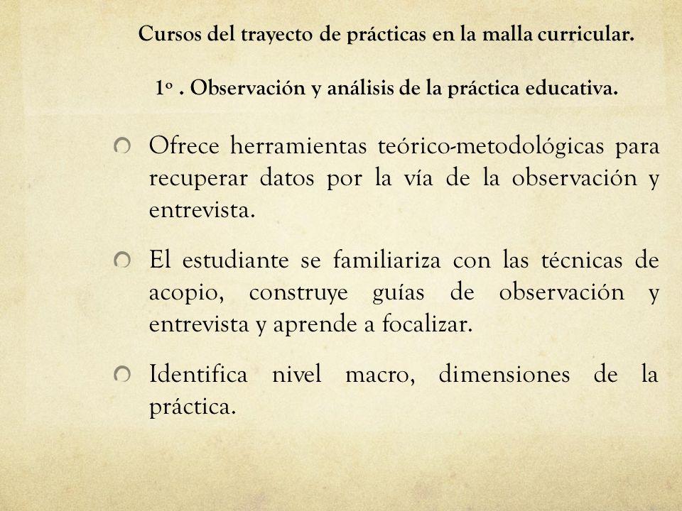 Cursos del trayecto de prácticas en la malla curricular. 1º. Observación y análisis de la práctica educativa. Ofrece herramientas teórico-metodológica