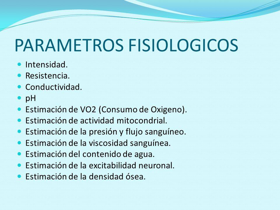 PARAMETROS FISIOLOGICOS Intensidad. Resistencia. Conductividad. pH Estimación de VO2 (Consumo de Oxigeno). Estimación de actividad mitocondrial. Estim