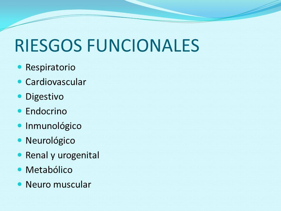 RIESGOS FUNCIONALES Respiratorio Cardiovascular Digestivo Endocrino Inmunológico Neurológico Renal y urogenital Metabólico Neuro muscular