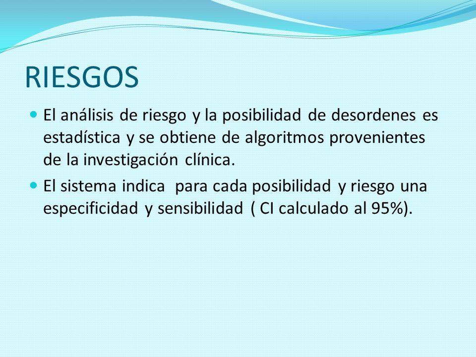 RIESGOS El análisis de riesgo y la posibilidad de desordenes es estadística y se obtiene de algoritmos provenientes de la investigación clínica. El si