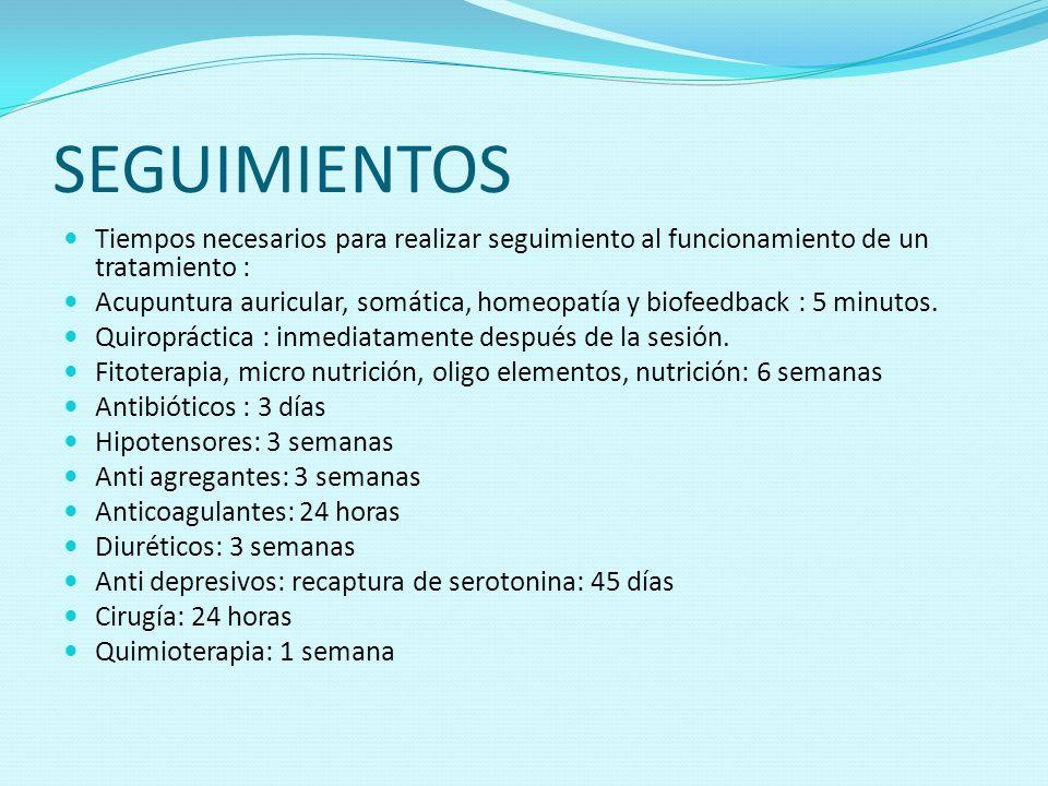 SEGUIMIENTOS Tiempos necesarios para realizar seguimiento al funcionamiento de un tratamiento : Acupuntura auricular, somática, homeopatía y biofeedba