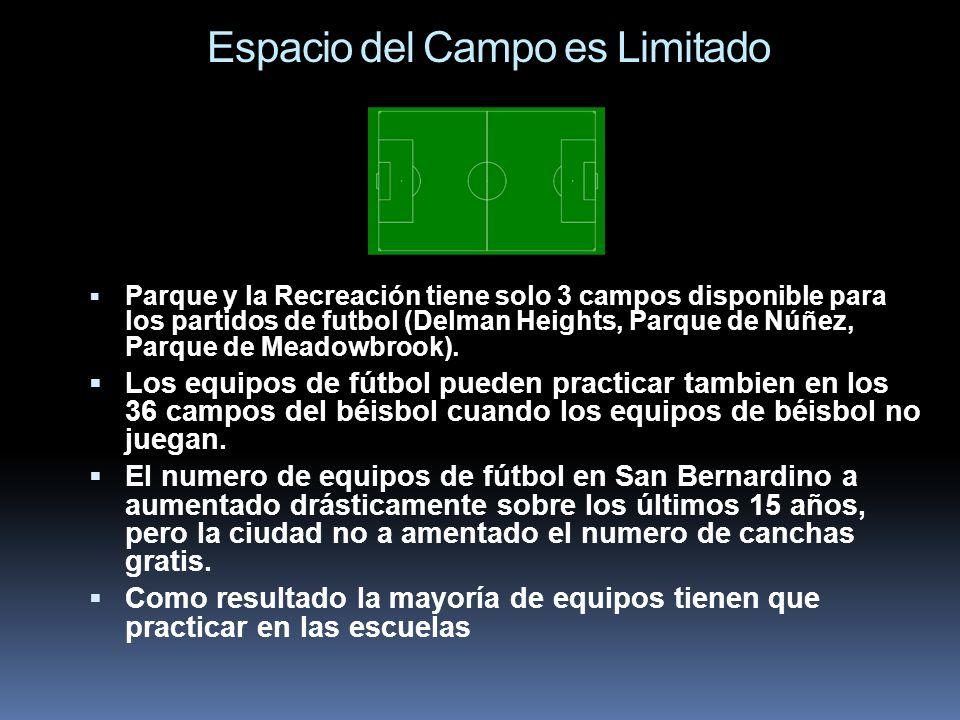 Espacio del Campo es Limitado Parque y la Recreación tiene solo 3 campos disponible para los partidos de futbol (Delman Heights, Parque de Núñez, Parq