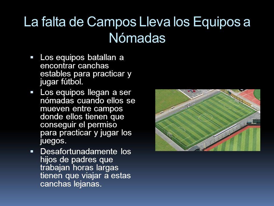 La falta de Campos Lleva los Equipos a Nómadas Los equipos batallan a encontrar canchas estables para practicar y jugar fútbol. Los equipos llegan a s
