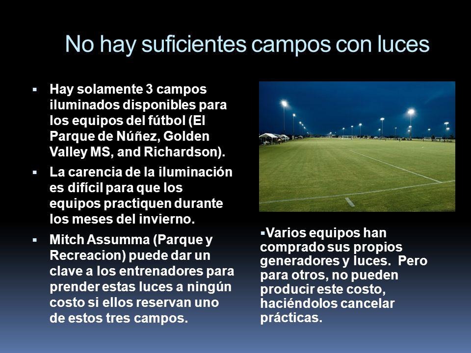 No hay suficientes campos con luces Hay solamente 3 campos iluminados disponibles para los equipos del fútbol (El Parque de Núñez, Golden Valley MS, a