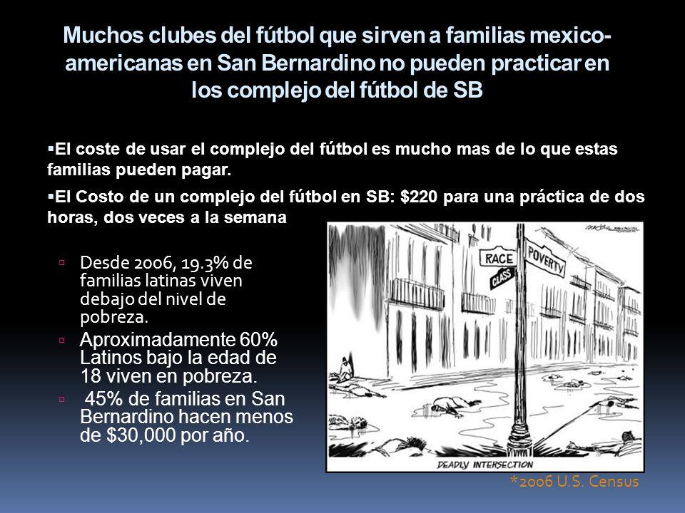 Muchos clubes del fútbol que sirven a familias mexico- americanas en San Bernardino no pueden practicar en los complejo del fútbol de SB Desde 2006, 1