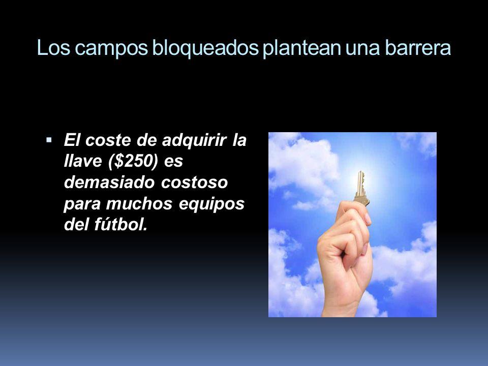 Los campos bloqueados plantean una barrera El coste de adquirir la llave ($250) es demasiado costoso para muchos equipos del fútbol.