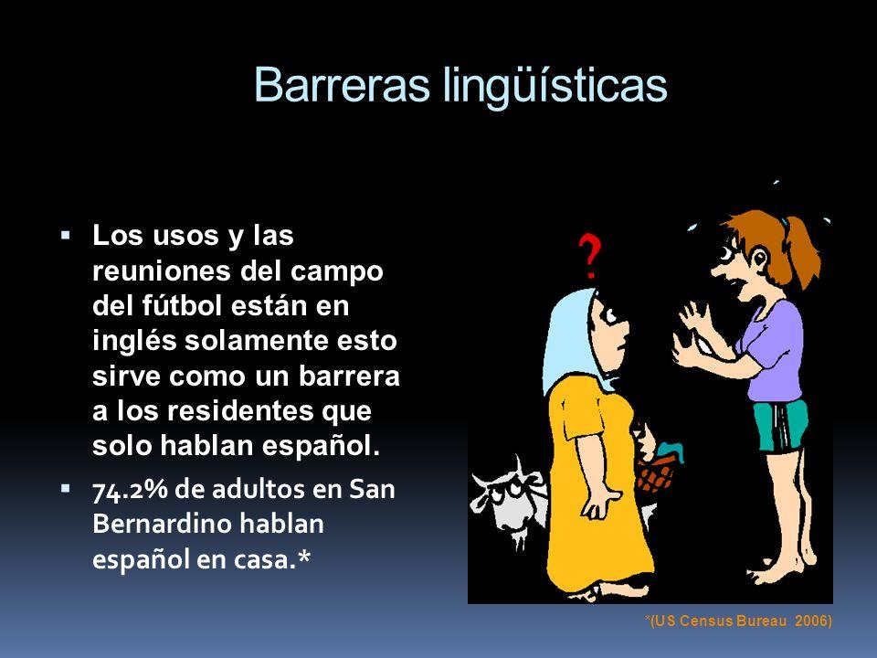Barreras lingüísticas Los usos y las reuniones del campo del fútbol están en inglés solamente esto sirve como un barrera a los residentes que solo hab