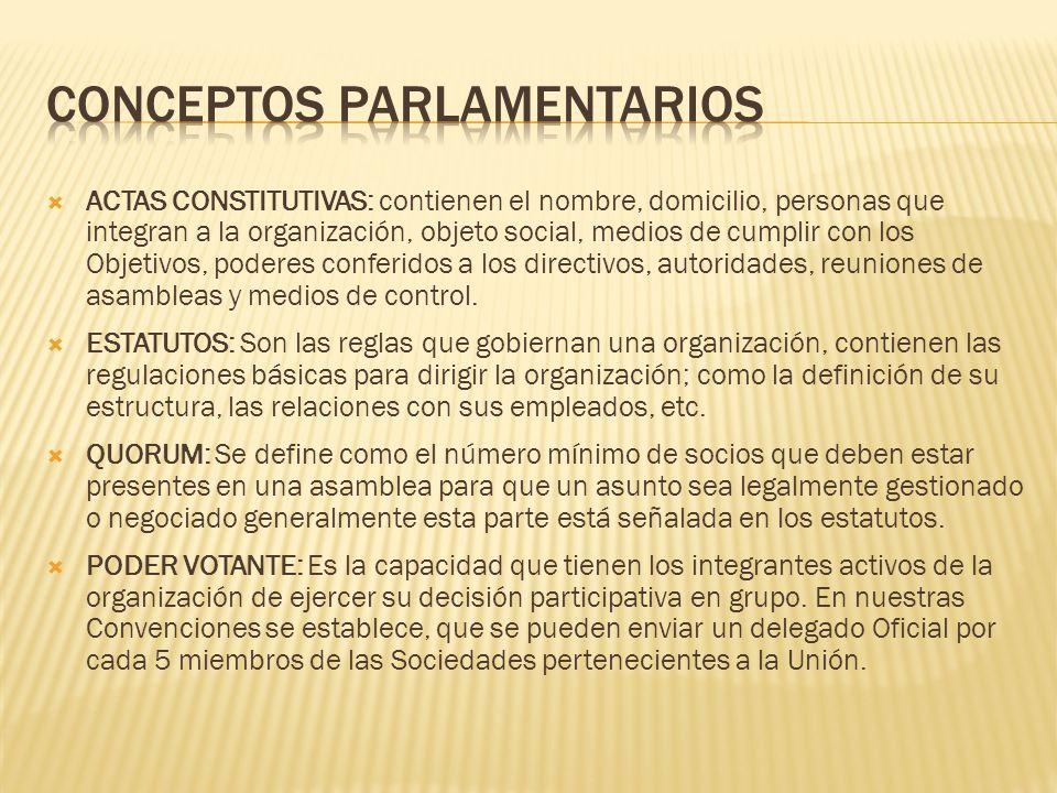 ACTAS CONSTITUTIVAS: contienen el nombre, domicilio, personas que integran a la organización, objeto social, medios de cumplir con los Objetivos, pode