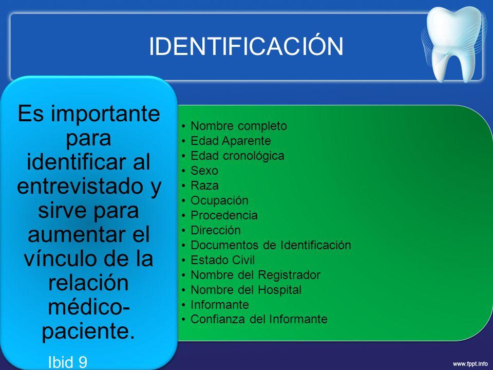 IDENTIFICACIÓN Nombre completo Edad Aparente Edad cronológica Sexo Raza Ocupación Procedencia Dirección Documentos de Identificación Estado Civil Nomb