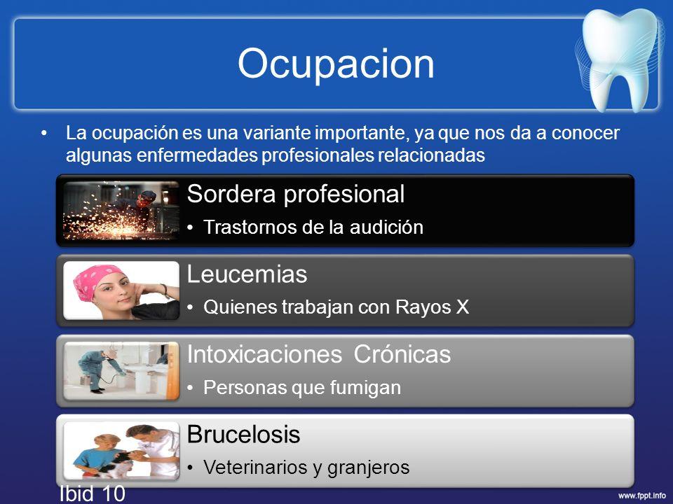 Ocupacion La ocupación es una variante importante, ya que nos da a conocer algunas enfermedades profesionales relacionadas Sordera profesional Trastor