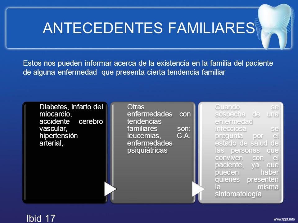 ANTECEDENTES FAMILIARES Diabetes, infarto del miocardio, accidente cerebro vascular, hipertensión arterial, Otras enfermedades con tendencias familiar