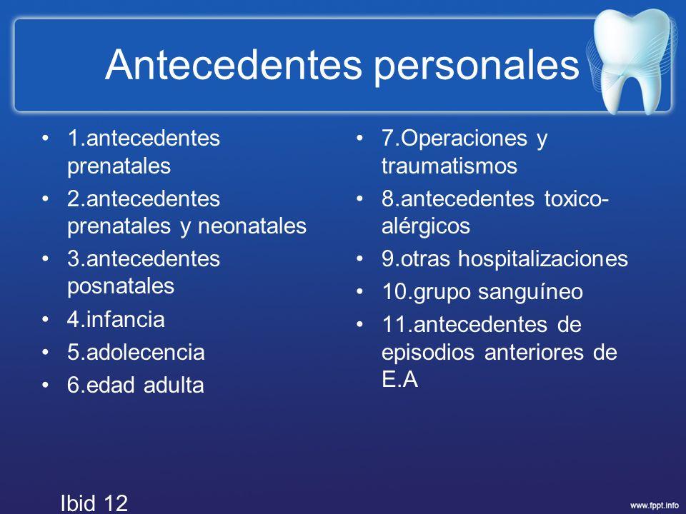 Antecedentes personales 1.antecedentes prenatales 2.antecedentes prenatales y neonatales 3.antecedentes posnatales 4.infancia 5.adolecencia 6.edad adu
