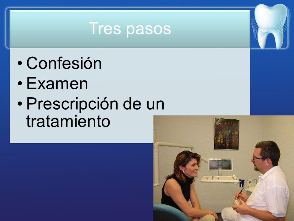Tres pasos Confesión Examen Prescripción de un tratamiento