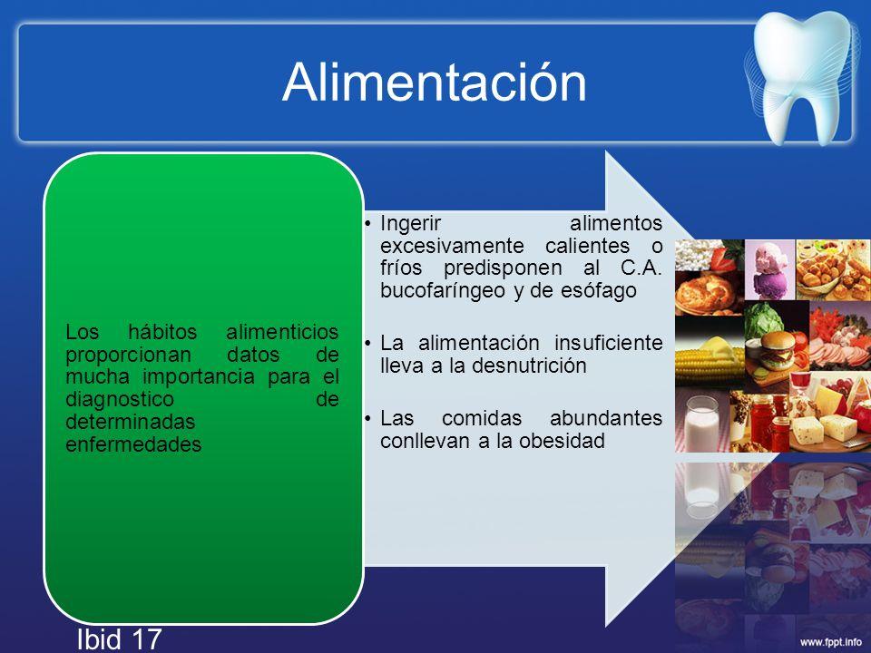 Alimentación Ingerir alimentos excesivamente calientes o fríos predisponen al C.A. bucofaríngeo y de esófago La alimentación insuficiente lleva a la d
