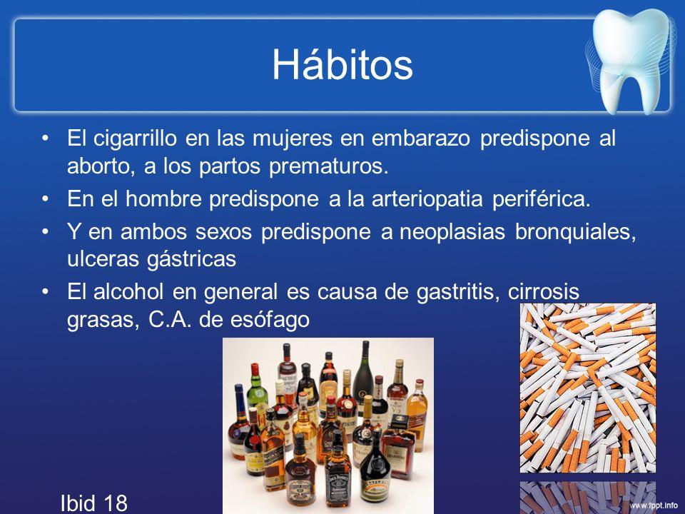Hábitos El cigarrillo en las mujeres en embarazo predispone al aborto, a los partos prematuros. En el hombre predispone a la arteriopatia periférica.