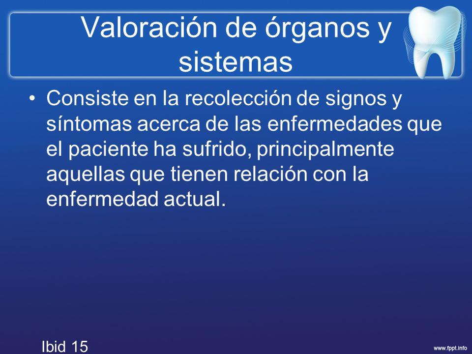 Valoración de órganos y sistemas Consiste en la recolección de signos y síntomas acerca de las enfermedades que el paciente ha sufrido, principalmente