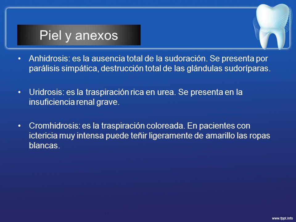 Anhidrosis: es la ausencia total de la sudoración. Se presenta por parálisis simpática, destrucción total de las glándulas sudoríparas. Uridrosis: es