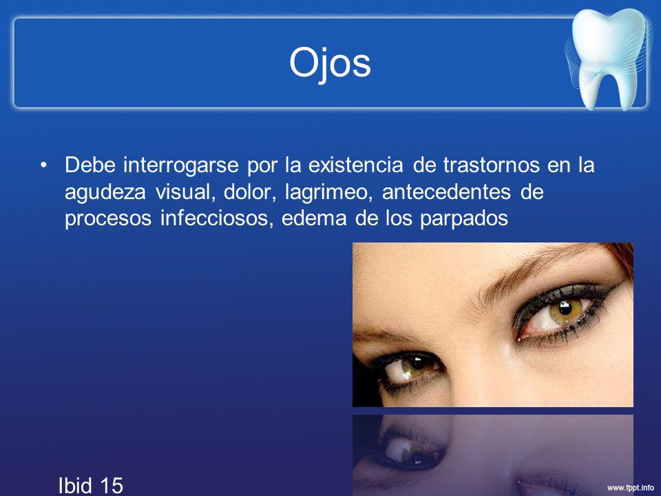 Ojos Debe interrogarse por la existencia de trastornos en la agudeza visual, dolor, lagrimeo, antecedentes de procesos infecciosos, edema de los parpa