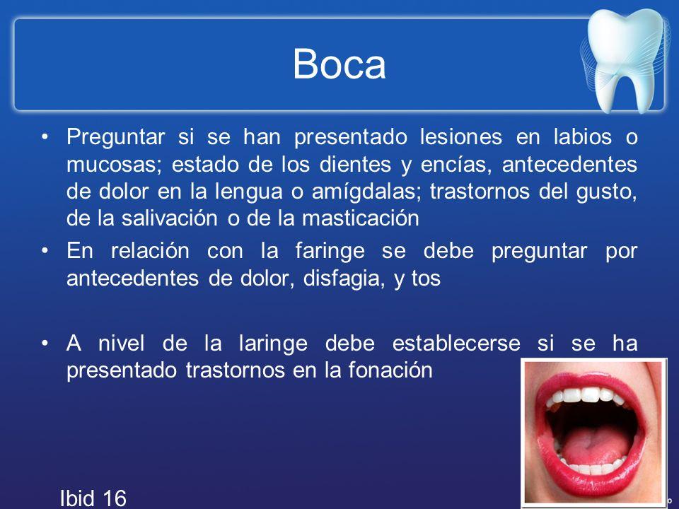 Boca Preguntar si se han presentado lesiones en labios o mucosas; estado de los dientes y encías, antecedentes de dolor en la lengua o amígdalas; tras
