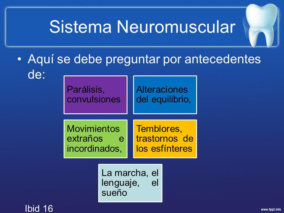 Sistema Neuromuscular Aquí se debe preguntar por antecedentes de: Parálisis, convulsiones Alteraciones del equilibrio, Movimientos extraños e incordin