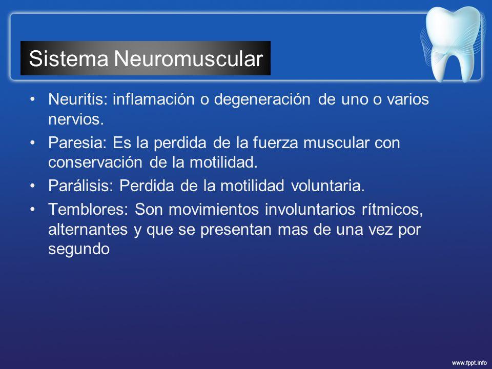 Neuritis: inflamación o degeneración de uno o varios nervios. Paresia: Es la perdida de la fuerza muscular con conservación de la motilidad. Parálisis