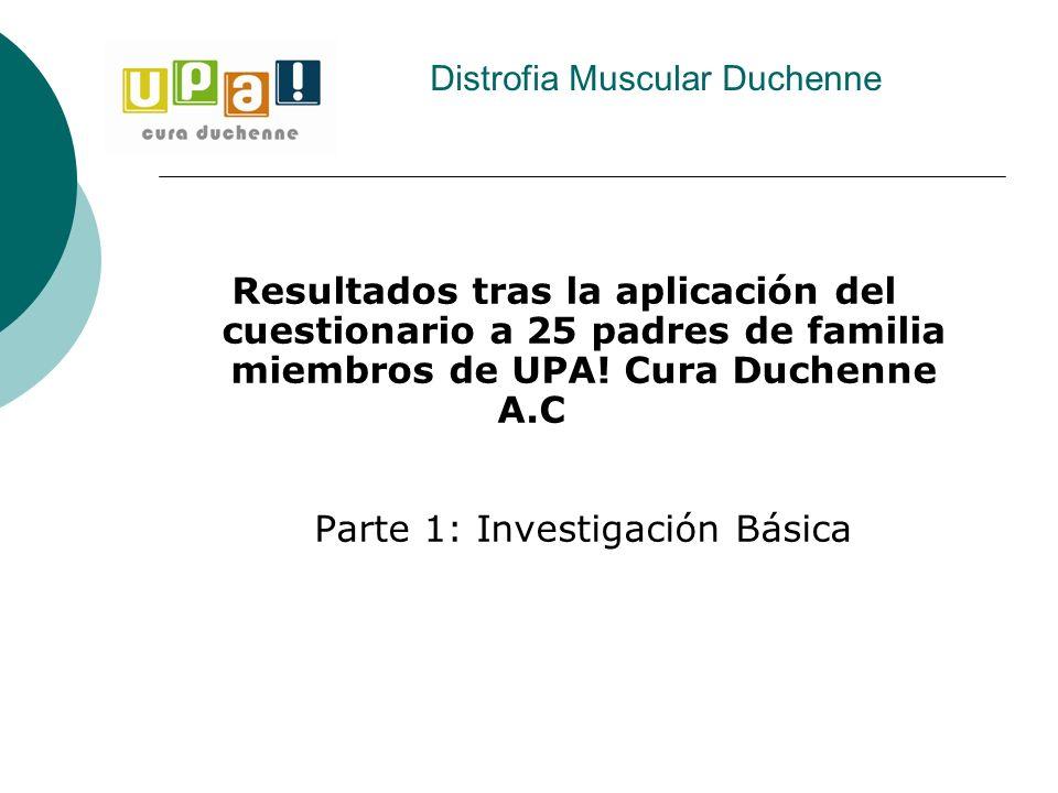 Resultados tras la aplicación del cuestionario a 25 padres de familia miembros de UPA! Cura Duchenne A.C Parte 1: Investigación Básica Distrofia Muscu