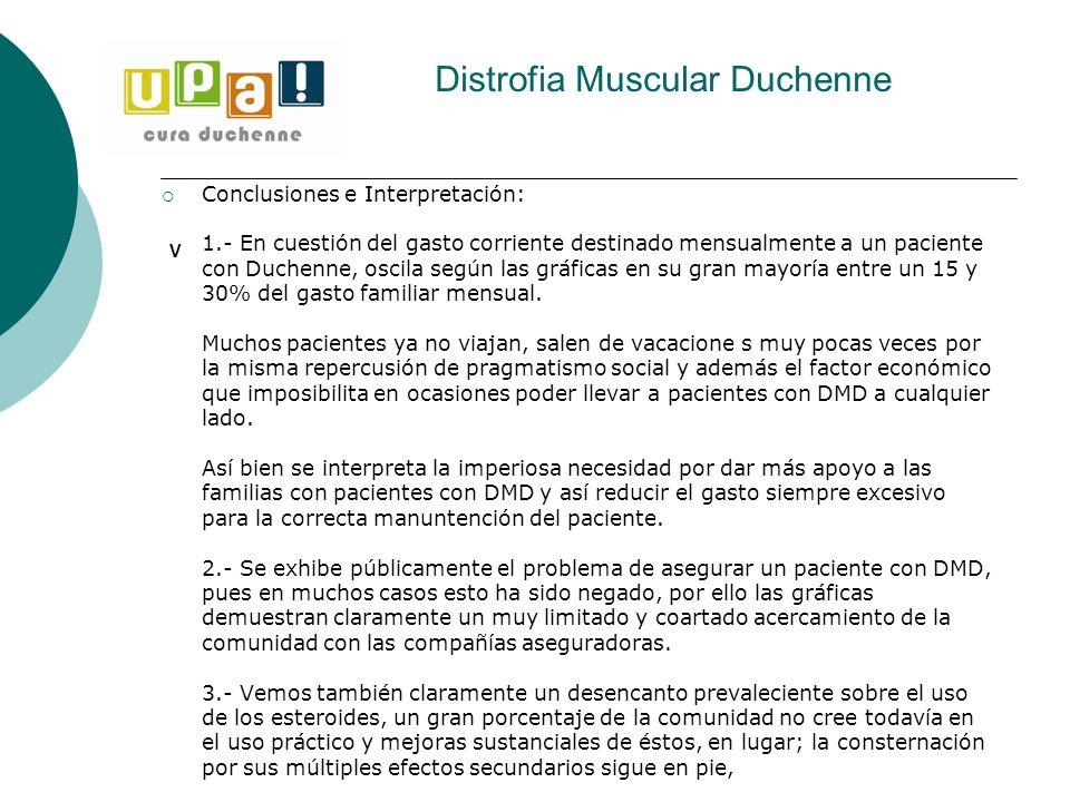 Distrofia Muscular Duchenne V Conclusiones e Interpretación: 1.- En cuestión del gasto corriente destinado mensualmente a un paciente con Duchenne, os