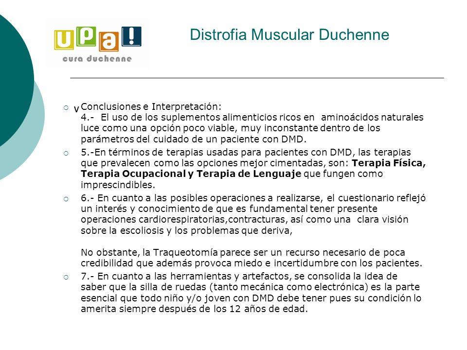 Distrofia Muscular Duchenne V Conclusiones e Interpretación: 4.- El uso de los suplementos alimenticios ricos en aminoácidos naturales luce como una o