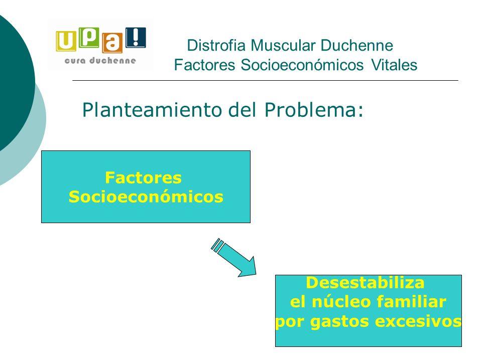 Planteamiento del Problema: Distrofia Muscular Duchenne Factores Socioeconómicos Vitales Desestabiliza el núcleo familiar por gastos excesivos Factore