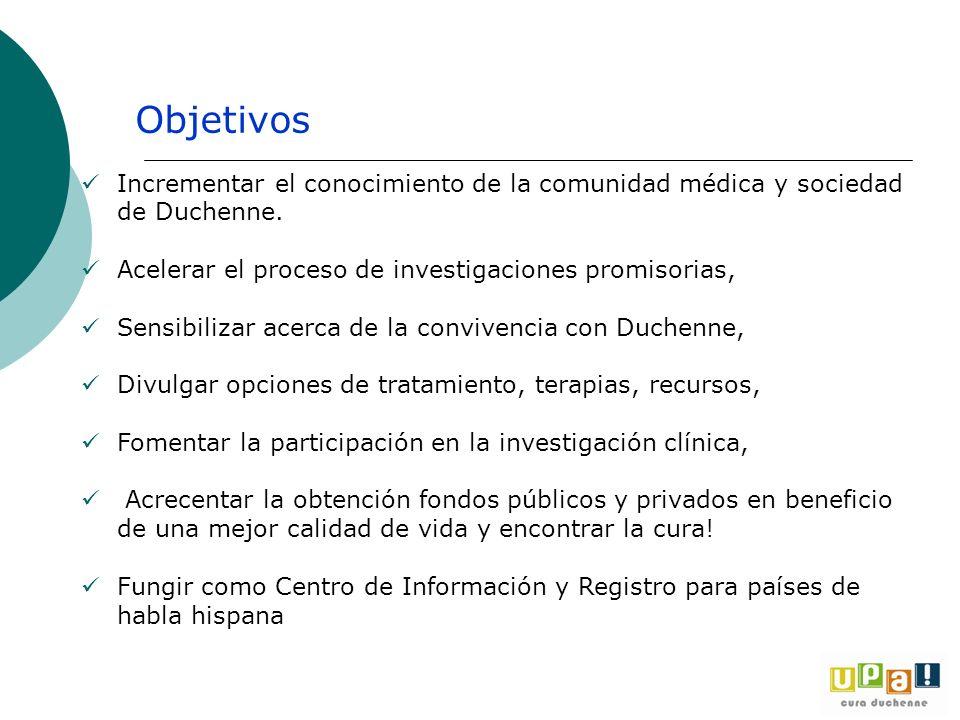 Incrementar el conocimiento de la comunidad médica y sociedad de Duchenne. Acelerar el proceso de investigaciones promisorias, Sensibilizar acerca de