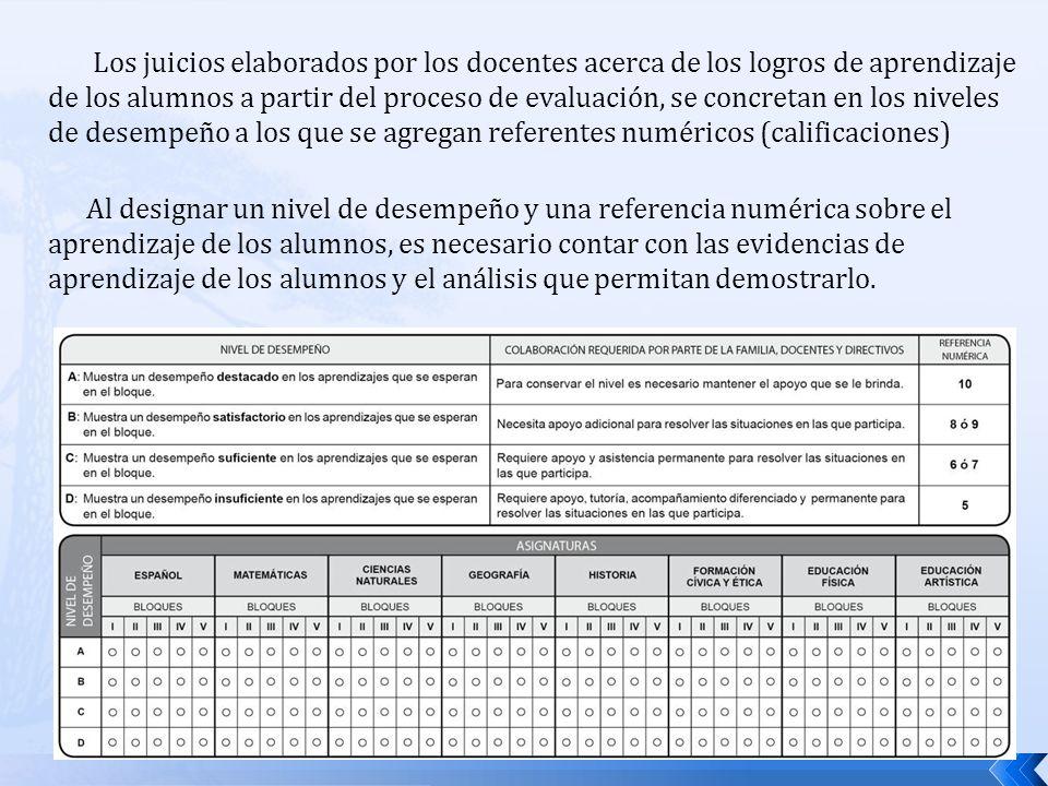 Los juicios elaborados por los docentes acerca de los logros de aprendizaje de los alumnos a partir del proceso de evaluación, se concretan en los niv