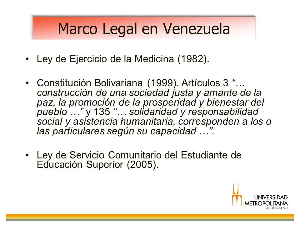 Marco Legal en Venezuela Ley de Ejercicio de la Medicina (1982). Constitución Bolivariana (1999). Artículos 3 … construcción de una sociedad justa y a