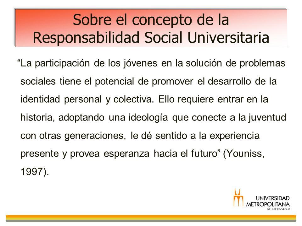 Sobre el concepto de la Responsabilidad Social Universitaria La participación de los jóvenes en la solución de problemas sociales tiene el potencial d