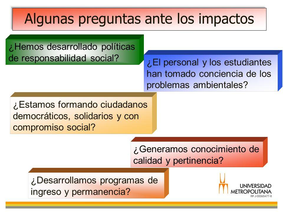 Algunas preguntas ante los impactos ¿Hemos desarrollado políticas de responsabilidad social? ¿El personal y los estudiantes han tomado conciencia de l