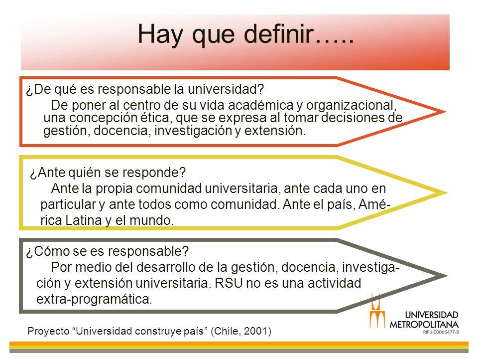 Hay que definir….. ¿De qué es responsable la universidad? De poner al centro de su vida académica y organizacional, una concepción ética, que se expre