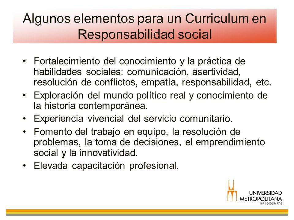 Algunos elementos para un Curriculum en Responsabilidad social Fortalecimiento del conocimiento y la práctica de habilidades sociales: comunicación, a