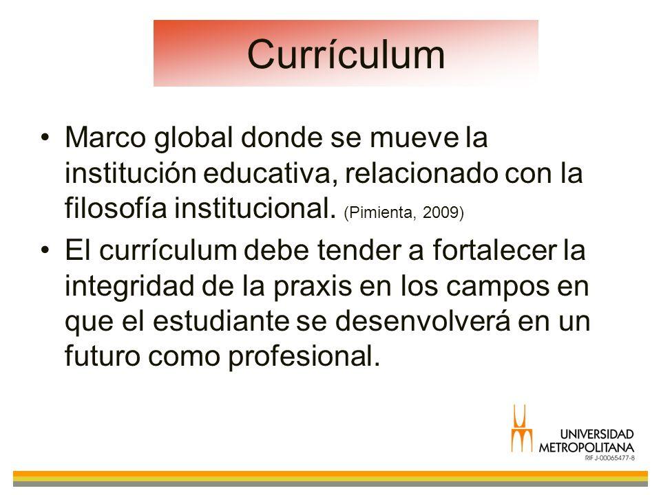 Currículum Marco global donde se mueve la institución educativa, relacionado con la filosofía institucional. (Pimienta, 2009) El currículum debe tende