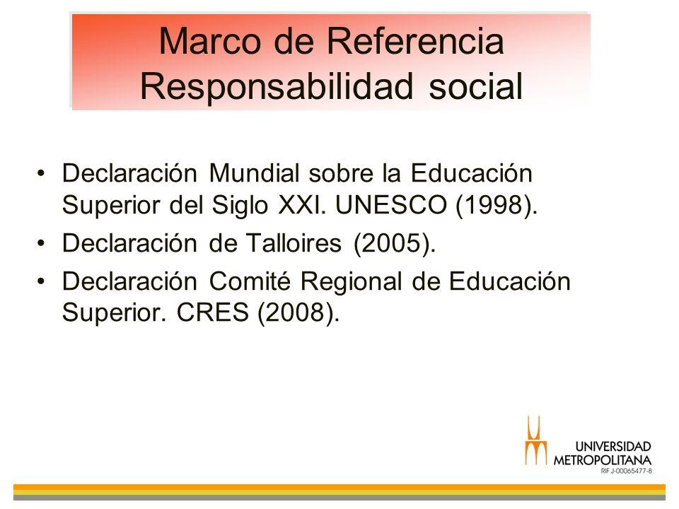 Marco de Referencia Responsabilidad social Declaración Mundial sobre la Educación Superior del Siglo XXI. UNESCO (1998). Declaración de Talloires (200
