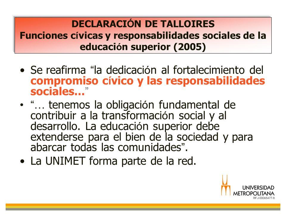 DECLARACI Ó N DE TALLOIRES Funciones c í vicas y responsabilidades sociales de la educaci ó n superior (2005) Se reafirma la dedicaci ó n al fortaleci