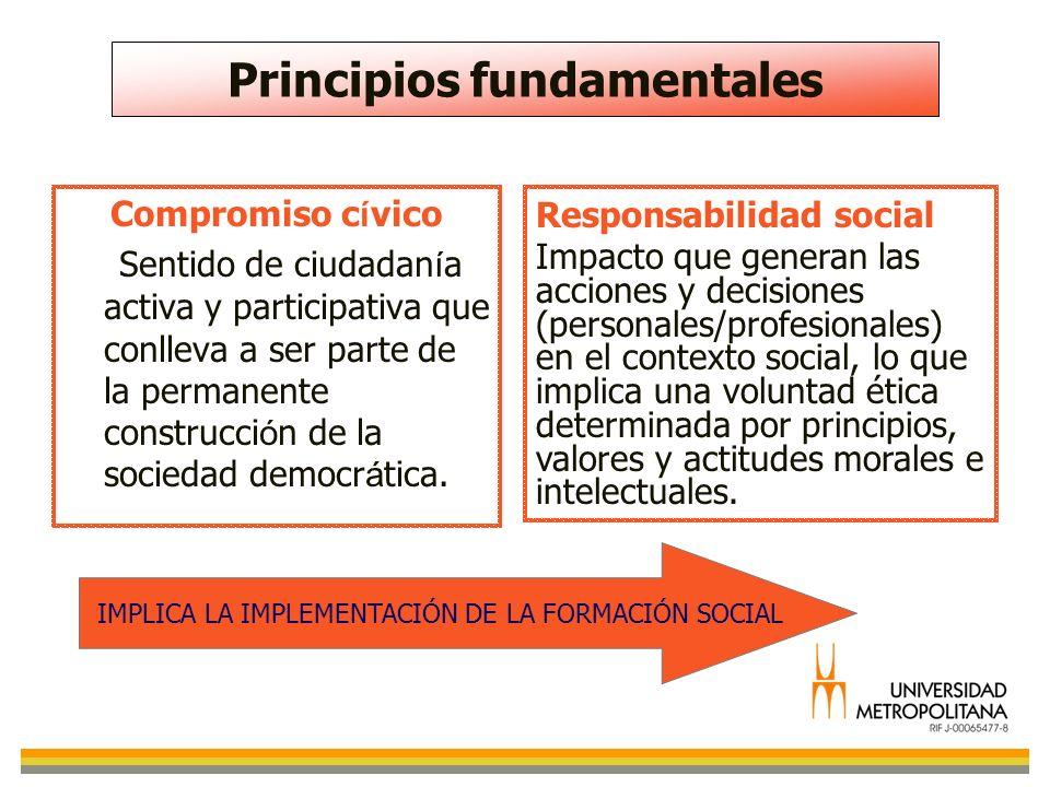 Principios fundamentales Compromiso c í vico Sentido de ciudadan í a activa y participativa que conlleva a ser parte de la permanente construcci ó n d