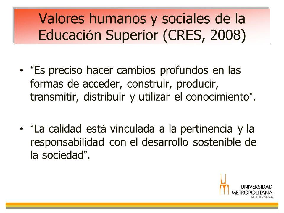 Valores humanos y sociales de la Educaci ó n Superior (CRES, 2008) Es preciso hacer cambios profundos en las formas de acceder, construir, producir, t