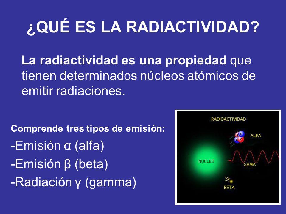 ¿QUÉ ES LA RADIACTIVIDAD? La radiactividad es una propiedad que tienen determinados núcleos atómicos de emitir radiaciones. Comprende tres tipos de em