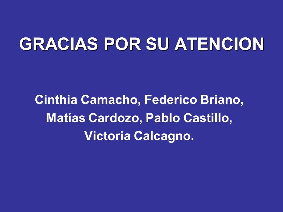 GRACIAS POR SU ATENCION Cinthia Camacho, Federico Briano, Matías Cardozo, Pablo Castillo, Victoria Calcagno.