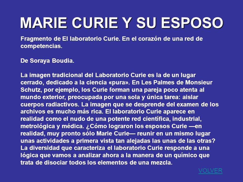 MARIE CURIE Y SU ESPOSO Fragmento de El laboratorio Curie. En el corazón de una red de competencias. De Soraya Boudia. La imagen tradicional del Labor