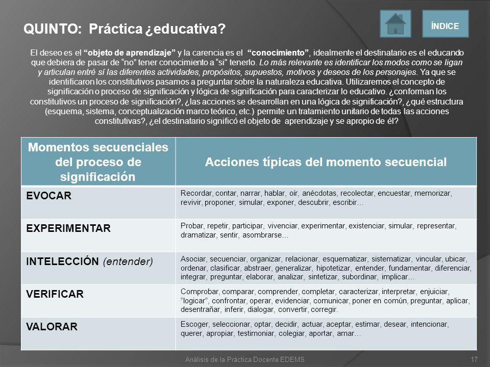 QUINTO: Práctica ¿educativa? El deseo es el objeto de aprendizaje y la carencia es el conocimiento, idealmente el destinatario es el educando que debi