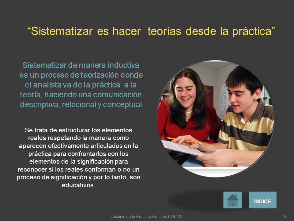 Sistematizar de manera inductiva es un proceso de teorización donde el analista va de la práctica a la teoría, haciendo una comunicación descriptiva,