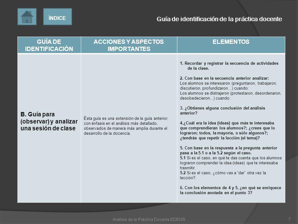 GUÍA DE IDENTIFICACIÓN ACCIONES Y ASPECTOS IMPORTANTES ELEMENTOS C.
