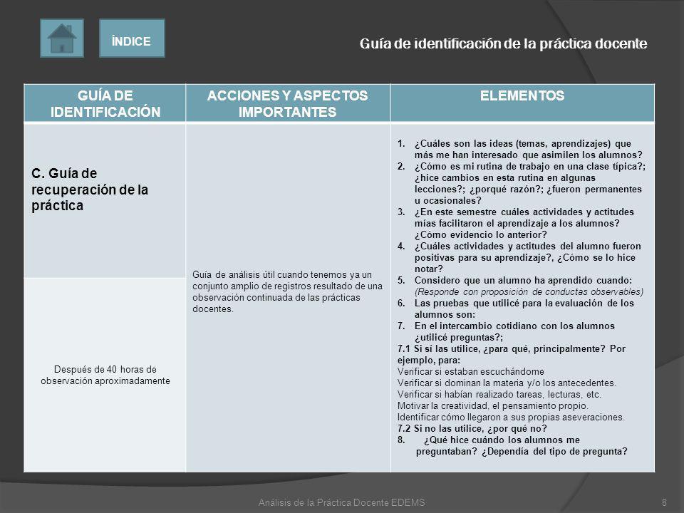 GUÍA DE IDENTIFICACIÓN ACCIONES Y ASPECTOS IMPORTANTES ELEMENTOS C. Guía de recuperación de la práctica Guía de análisis útil cuando tenemos ya un con